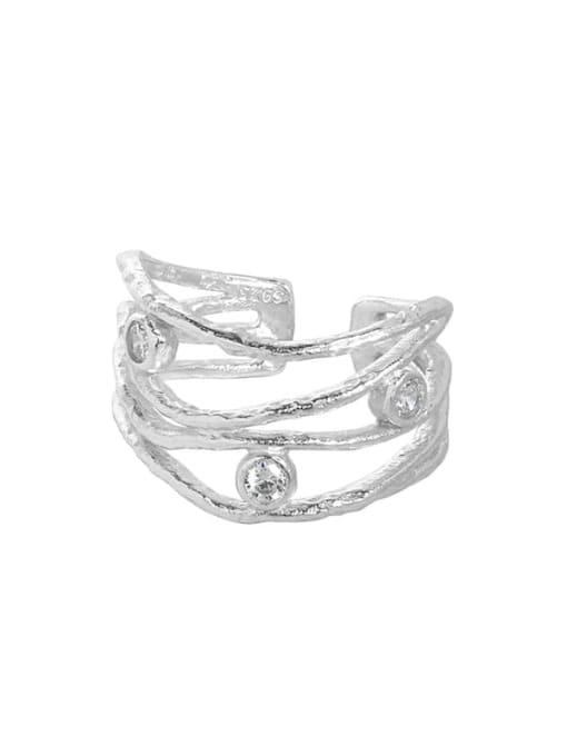 Silver [size 13 adjustable] 925 Sterling Silver Cubic Zirconia Irregular Vintage Stackable Ring